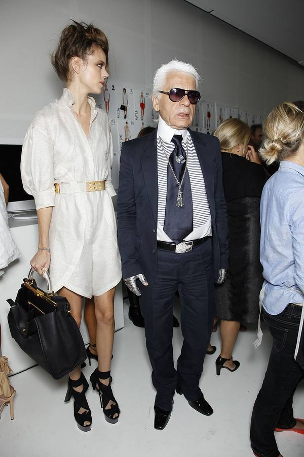 THE DYNAMIC DUO: Freja and Karl backstage at Fendi.
