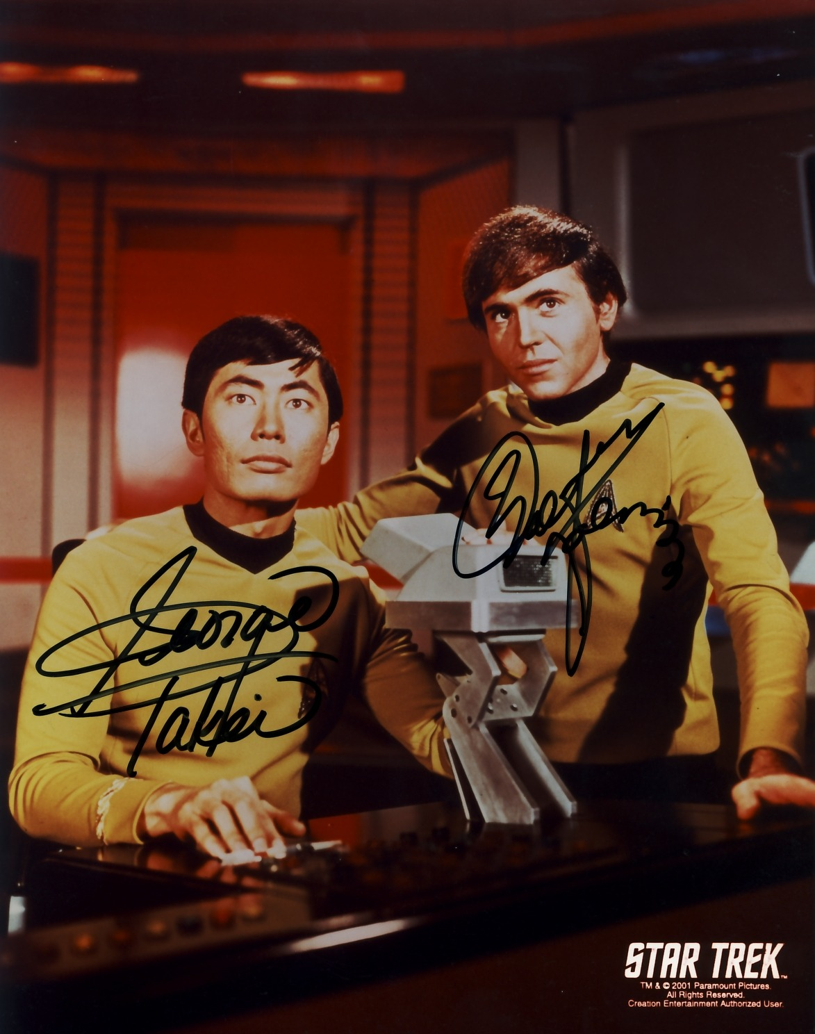 George Takei as Lieutenant Sulu and Walter Koenig as Ensign Chekov in the only publicity still of just the two of them from the Original Series.  It was also one of the first 'buddy shots' that convention organizers started to produce after the multitude of requests they got about such.  In the earlier days of conventions, vendors would produce such knowing the fan desire.  But in the late 1990s Paramount waged war on such 'unlicensed' photos and for about a decade, you could only get the handful of photos that got licensed (and usually sucked!) I've always liked such photos.  Thankfully, in the past decade though, if such doesn't exist of a specific pairing of characters, the company will make such.  Which is how it should be, damnit!  I'd like to take some credit for such, having made numerous requests during the years before they made such, but I imagine it would take more than one annoyingly persistent fan… ((Like This?  Check Out My Archive and Follow Me!))