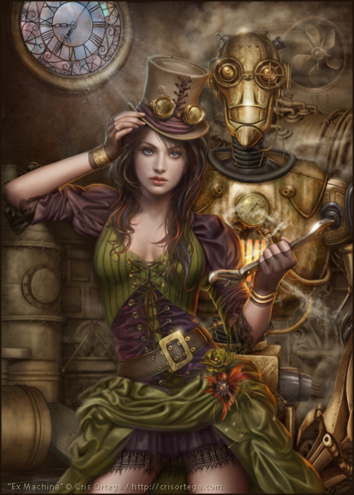 "There are a lot of lovely little details in this steampunk piece by artist Cris Ortega. I like it very much.  ""Ex Machina"" by Cris Ortega, via DeviantArt"
