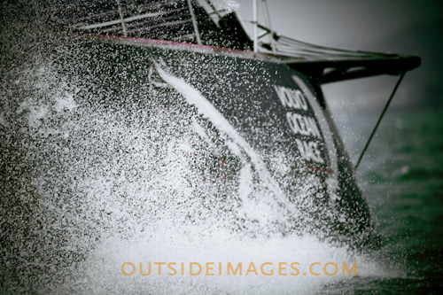 PUMA Ocean Racing blasting along during the Volvo Ocean Race Pro Am inside Sanya bay