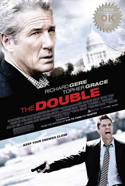 "The Double (2011) A retired CIA operative is paired with a young FBI agent to unravel the mystery of a senator's murder, with all signs pointing to a Soviet assassin. Richard Gere teams up with Topher Grace in this espionage hunt/game.  Who is Cassius??? Curiosity got the best of me here… what an odd combination/couple. Grace and Gere, each with their own repertoire - how did they mesh? not so good.  This was a tame spy mystery. The action was ""meh"" and the twists were predictable. To be honest, there really wasn't a twist, we join the young detective pick up clues to what the fuck is going on around him. The acting was good as you would expect. Martin Sheen makes a decent appearance as well. But the overall presentation was weak. Was mom and sis their target market? Pretty boys of then and now. Gere rocked the wristwatch wire well! I want one. But besides that… this was a ""light"" spy thriller. You can make Granpa watch this without fear of him collapsing from an audio visual heart attack. Russians = WHAT??? When past and present collide, oh so gently."