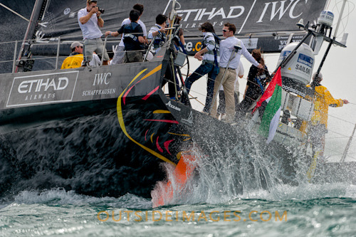 Abu Dhabi Ocean Racing shredding some serious water off their transom during the Volvo Ocean Race Pro Am inside Sanya bay