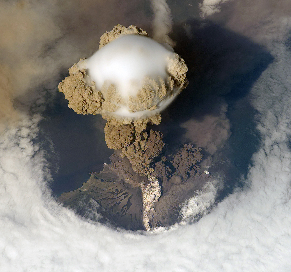 Early stage of eruption taken by NASA/ESA. Sarychev Volcano, 2009, via