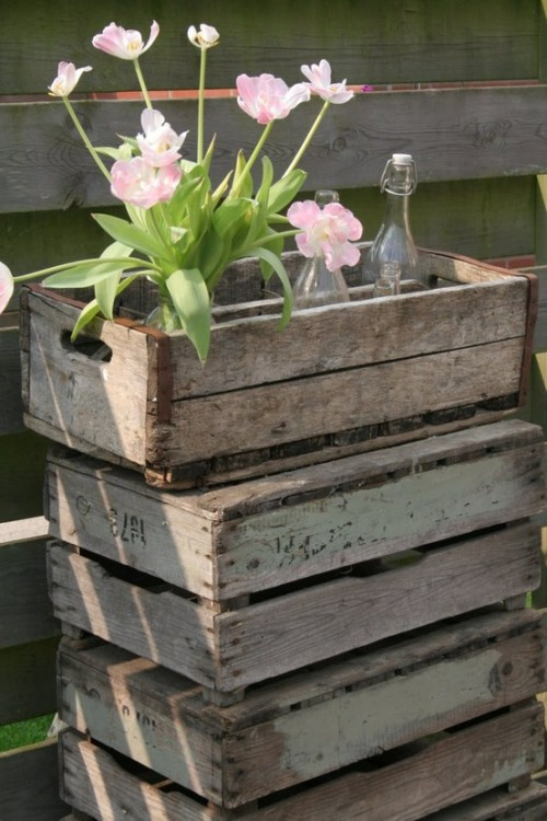 rustic decor with tulips