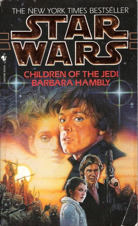 "Children of the Jedi by Barbara Hambly (1995, Bantam) Reading Children of the Jedi was a unique experience for me. It was the first Star Wars novel I have read in years that I've gone into completely cold. I had no idea what this book was about before I opened it. I was pleased to find that it didn't (completely) rely upon a doomsday weapon for its dramatic tension.  After receiving a strange warning, Han, Leia, Chewbacca, and Artoo travel to the planet Belsavis, where a group of Jedi refugees and their children had hidden to escape Palpatine's wrath. Luke embarks on his own investigation with C-3PO, a Jedi student called Cray Mingla, and her fiancée—sort of.  Cray's fiancée, Nichos Marr, suffered from a terminal degenerative condition. In an attempt to save him, Cray built an exact droid replica of Nichos, hoping to transfer his consciousness into the droid body. There are many passages throughout the novel in which Luke privately wonders if that authentic transfer has been accomplished, or if Nichos is simply a very convincing droid.  After crash-landing on the unpronounceable planet Pzob and meeting an aging, long-marooned stormtrooper, Luke's party is captured and dragged aboard a thirty-year-old ""battlemoon"" called the Eye of Palpatine. Luke spends most of the novel here, dragging himself along after taking a vicious wound to the leg and attempting to deactivate the ship's mysteriously reactivated AI before it can make it to Belsavis and complete its decades-old mission to wipe out the secret Jedi colony there.  Luke soon discovers that within the Eye's computer is the spirit of the Jedi who sacrificed herself thirty years ago to stop the ship's mission. This is Callista Masana, pictured on the cover above.  Skimming around the internet, I've found a lot of complaining on discussion boards about this character. Many fans seem to harbor a strong distaste for her. My suspicion is that this is mainly because Luke falls in love with Callista, and Callista isn't Mara Jade. Readers would do well to remember, however, that at this point, Mara hadn't been explicitly presented as a romantic interest for Luke. In fact, there was at this point more romantic tension (albeit one-sided) between Mara and Lando.  I think that Luke's affection for Callista makes perfect sense. She shares Luke's sense of self-sacrificial duty, has a wry sense of humor, and presents a link to a past that Luke has been studying for eight years. This ghost in the machine plot and the Nichos droid replica situation add some faint cyberpunk tones to the novel that I enjoyed quite a bit.  The Han/Leia plot isn't bad, but doesn't really take off until the book begins moving toward its climax. Leia uncovers a conspiracy involving a former concubine of the Emperor, a bunch of snobbish aristocrats, and a childishly malicious, Force-sensitive kid who can very precisely control machines—including the light-years distant Eye of Palpatine.  Hambly is able to seamlessly fit the Star Wars cast into a story that is mildly unconventional for the Star Wars universe, with its musings on AI ethics and philosophy. She writes Leia particularly well, giving her a central role in the story instead of keeping her off the page with various affairs of state. Luke, too, fairs well in this novel. Too many writers portray post-Jedi Luke as an aloof sage who left all of his most interesting personality traits behind on the second Death Star. Hambly lets Luke crack jokes and have feelings that don't directly relate to being a Jedi. Watching him struggle past the brink of exhaustion is also compelling.  The ending, unfortunately, feels forced, almost as if Hambly or an editor at Bantam abruptly decided that it was time to give Luke a break in his love life for a change and had to quickly come up with an explanation in order to accomplish that. I will, however, give it credit for surprising me, albeit cheaply.  Speaking of giving credit, I was delighted to read C-3PO's nervous concern over the prospect of being ""sent to the sandmines of Neelgaimon."" I don't rate these books on a numerical score, but if I did, a reference to my favorite living author would at least be worth a point or so. Fans often refer to Children of the Jedi and the next two books, Darksaber and Planet of Twilight, as a trilogy. This appears to be solely because all three books feature the character of Callista, but I'll go ahead and review them in sequence anyway. See you back here next week for the depressingly titled Darksaber."