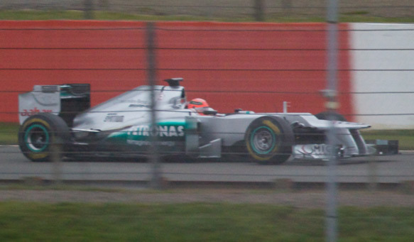 Spy shots of the new Mercedes W03 F1 car. Did anyone really think it would look any different than that? Hail to the platypus :P In another news, Petrov will replace Trulli at Caterham. It's probably a pretty much meaningless change, except it will be the first time since 1970 that an Italian driver is not on the grid for the start of a Formula 1 season, as noted by Autosport.