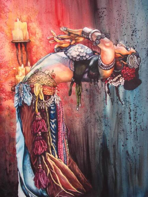 An amazing painting of bellydancer diva, Rachel Brice.