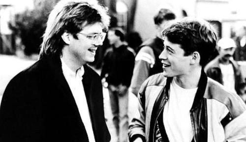 fuckyeahdirectors:  John Hughes and Matthew Broderick on-set of Ferris Bueller's Day Off (1986)