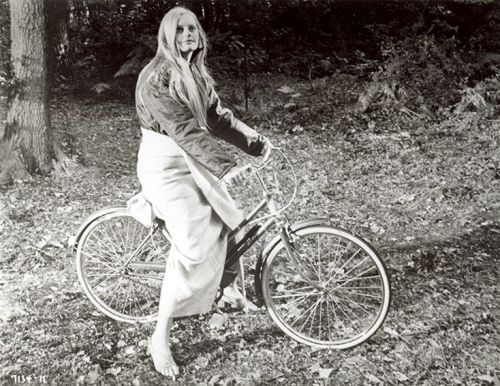 Exploitation movie mystery woman rides a bike. This is a still from a 1971 American International Pictures release. Anyone know what film and who this is? (We don't.) Let us know at ridesbike@gmail.com!