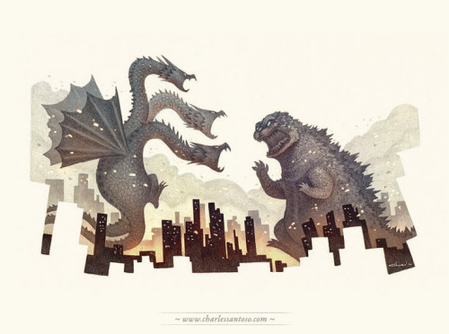 Godzilla vs Ghidorah - Godzilla is one of my favourite classic monsta! :D