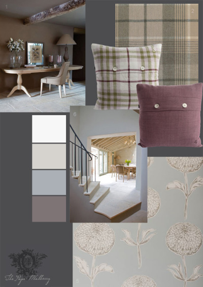 images:1.& 6.Sims Hilditch interior design and Neptune handmade interiors 2.Fabric'Robert Robertson Lowland' wool tweed by Anta 3.& 4.Cushions 'Gill Scott' linen & 'Teal' linen by Anta 5.Wallpaper 'Dahlia' sky by Clarke & Clarke