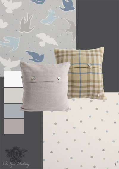 fabrics and cushions: 1.Fabric 'Seabirds' mist 100% cotton Clarke & Clarke 2.Cushion 'Dove' linen by Anta 3.Cushion'Macintosh' linen Anta 4.Fabric 'Seaside Spots' surf by Clarke & Clarke