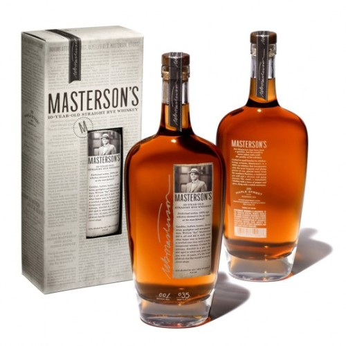 "Masterson's Rye Whiskey. ""Drawing inspiration from its namesake, the packaging is imbued with Bat  Masterson's life and lore. The bottle has a strikingly graceful  shoulder that's reminiscent of 19th century whiskey flasks, while the  small front label lets the whiskey's glorious amber hue do most of the  talking. Serving as a tribute to Masterson's days as a renowned  journalist, the die-cut label resembles a clipped-out newspaper column,  complete with torn edges like a real newspaper. The exterior box  features a die-cut window, allowing the label to stand out-yet fit in  seamlessly with newspaper articles printed over the surface of the box.  The articles delve deeper into Masterson's life and were custom written  in the distinctively verbose and dramatic turn-of-the-century tone."""