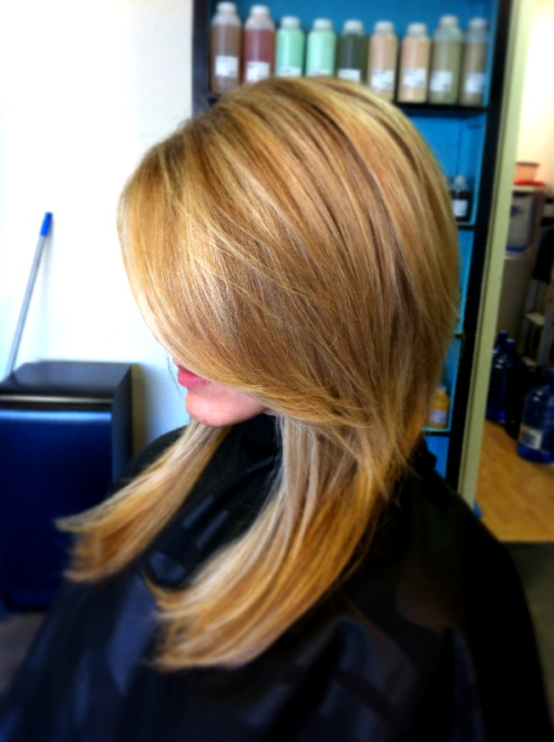 My sweet friend Jessica came in yesterday wanting to richer up her blonde, so we used 2 shades of golden pearl and 1 pale blonde to get this result. We love it! She is currently living in Japan with her husband, who is in the Air Force, and I was so honored she included a hair appt with me during her visit home!  She said it has been a little challenge to find a stylist there and even the language can be a barrier.   Here are some tips to finding a stylist in a new town! 1. Ask for a referral! Anyone you see that has hair very similar to the color and cut you want. 2. Bring in pictures. In my opinion, that is the best form of communication especially if there is a language barrier. Just be realistic about expectations! ie: if you have short blonde hair, don't bring a pic of Kim K and expect it in one visit ;) 3. Ask your previous stylist if they would pass on your formula to your new stylist. I've done this for clients who have moved and had new ones bring them in. 4. Go with a name you recognize! Companies like Aveda or Bumble and Bumble go through rigorous training and education so you can rest easy your stylist knows what they are doing.