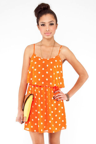 Style Options — Editor's Pick! Polka Dot Tier Dress in Orange Sherbet, via tobi.com, $35.00 (was $50.00)