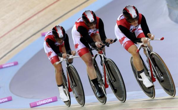 womenscycling:  UCI Track World Cup IV 2011-12, London: The Canadian's Were A Cut Above In Qualifying Setting Themselves Up For A Fight With The Brits For Gold, Photos | Cyclingnews.com Tara Whitten, Gillian Carleson and Jasmin Glaesser were super-strong in the team pursuit qualifiers - it should be a spectacular final! More photos of Day 1 on cyclingnews