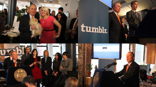 Photos from the launch of the citywide Facebook page, Foursquare badge, Tumblr and Twitter at the Tumblr Headquarters. Photos from the NYC Mayor's Office Flickr, by Kristen Artz.