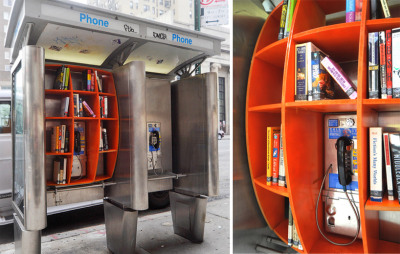 utnereader:  Phone booths re-purposed as micro-libraries in New York City. (via Designboom)  I love urban interventions, especially when books are involved. (Check out this newspaper stand converted into a community lending library, if you haven't already seen it.) Anyway, this NYC phone-booth-turned-book-swap is a great addition to the group of repurposed phone booths featured previously on Unconsumption (here), which includes other micro-libraries in various cities. Are there other repurposed phone booths that we — your friendly Unconsumption hosts — haven't yet come across?