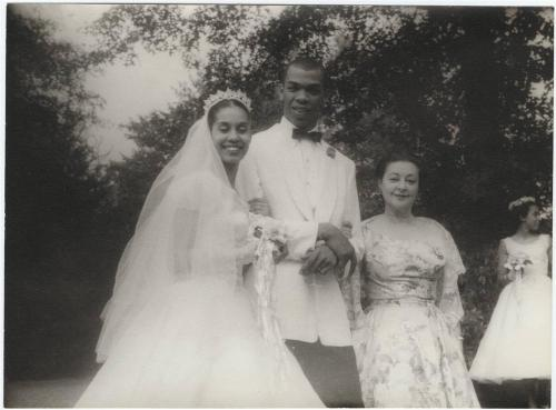 Carmen de Lavallade and Geoffrey Holder on their wedding day, June 26, 1955, with theater legend Lucille Lortel, who hosted the wedding on her estate in Westport, Connecticut. Photo by Carl Van Vechten.