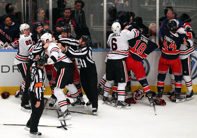 Members of the Rangers and Blackhawks engage in a scrum after a whistle during the first period of their matchup at Madison Square Garden last night. Chicago ended a nine-game losing streak with a 4-2 victory. (Debby Wong/US Presswire) VIDEO: Watch highlights of last night's Rangers-Blackhawks game