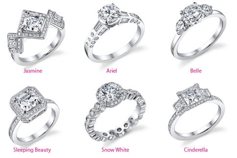 youwearwhite:  Disney Princess Inspired Engagement Rings