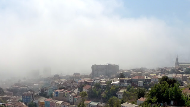 Valparaiso in the morning fog, Chile, February 2012