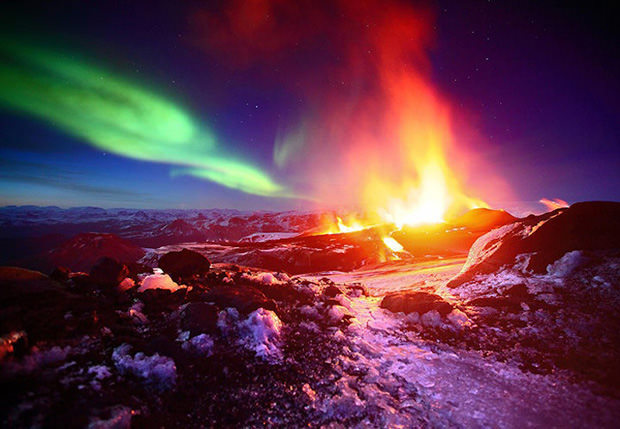 Northern Lights floating over an Icelandic Volcano
