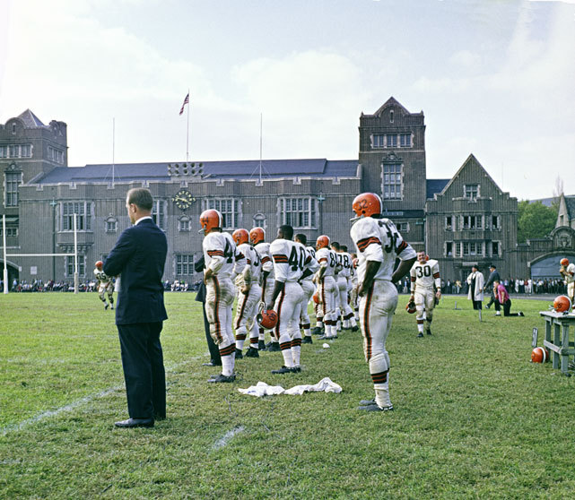 Jim Brown (No. 32) enjoys the view from the sideline during a 1960 game between the Browns and Eagles. The game took place at Franklin Field on the University of Pennsylvania campus. Brown is celebrating his 76th birthday today. (Neil Leifer/SI) GALLERY: Top 32 All-Time Running Backs | Iconic Syracuse PhotosSI VAULT: Jim Brown - Why I play fullback (9.26.60)