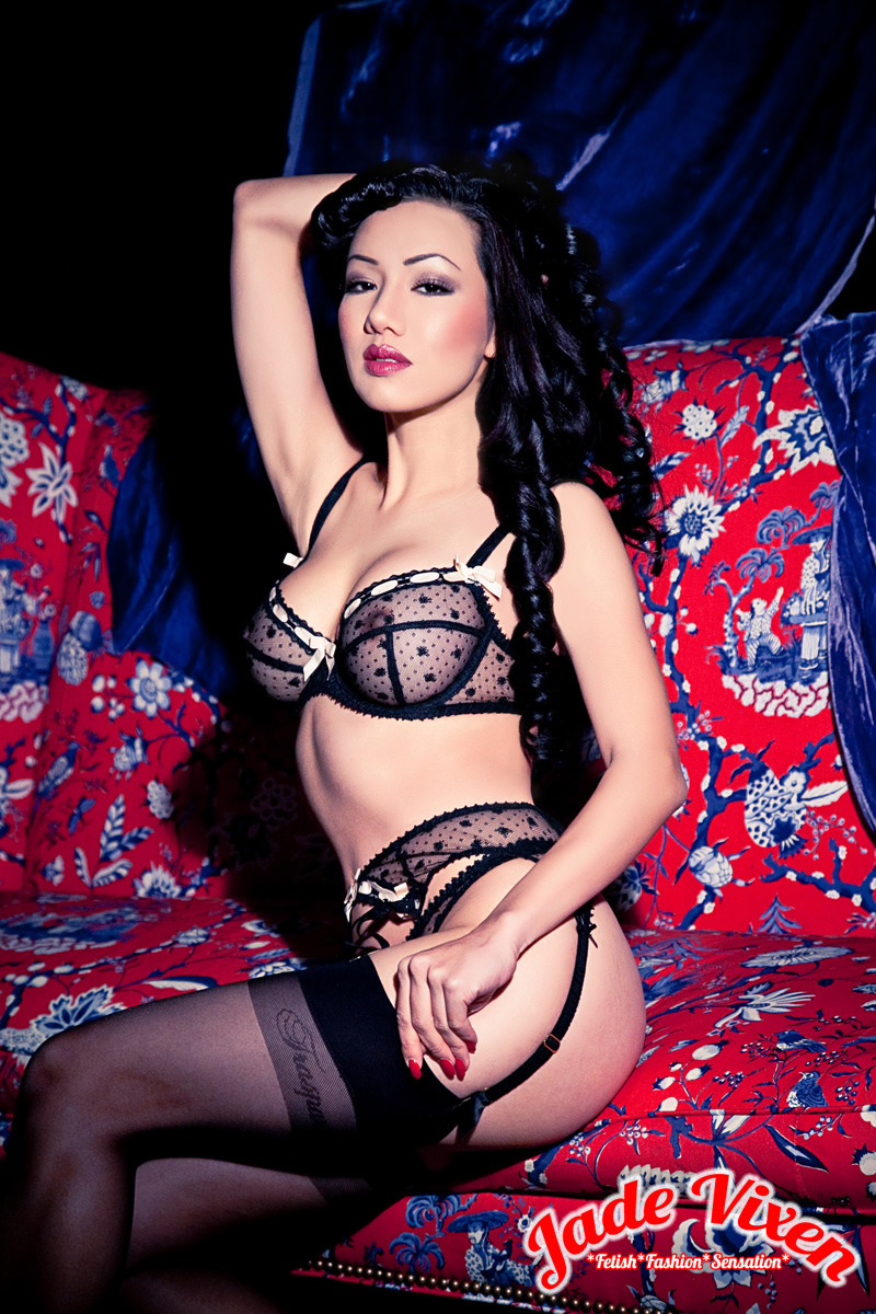 Jade Vixen in sheer black lingerie and stockings by ~MsJadeVixen