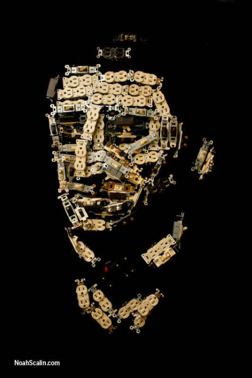 poetsorg:  Ralph Waldo Emerson's head made out of electrical outlets and switches.