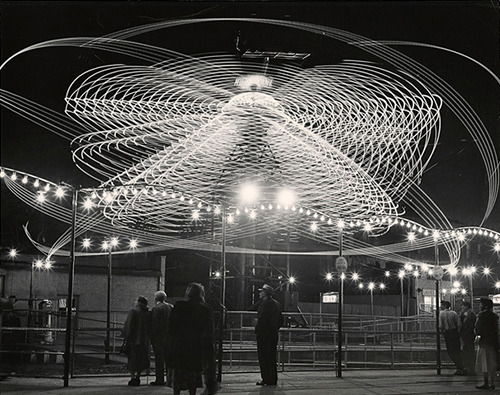 Photo Art… wired:  milesbarger:  Andreas Feininger, Ferris Wheel, Gyro Globe and The Hurricane, c1949 (via)  Beautiful.