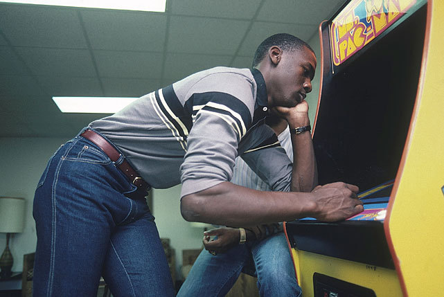 North Carolina sophomore Michael Jordan kills time between classes by playing Ms. Pac Man. Jordan is celebrating his 49th birthday today. (Lane Stewart/SI)  GALLERY: Michael Jordan In College | Michael Jordan In High School