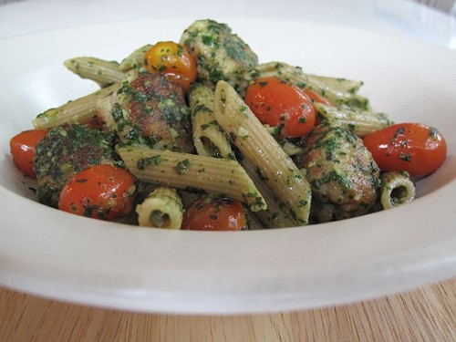 Whole Wheat Pasta with Chicken Meatballs and Spinach Pesto A few clever additions boost the health factor of this pasta dinner without sacrificing flavor. If you'd rather not make your own pesto, feel free to substitute about ¾-cup of the prepared kind. Get the recipe!