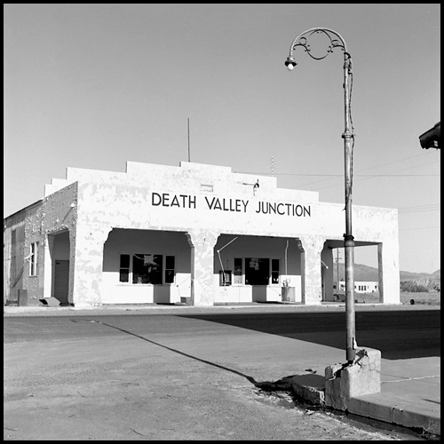 Death Valley Junction Inyo County, California Yashica Mat 124G + Tmax 100 black and white negative film The city limits sign reports a population of 4. Death Valley Junction, California 92328  Photography by Harry Snowden  Posted for my friends at: The Weekend in Black and White…the new home for Monochrome Maniacs  If you enjoyed this image, you might also like…  Shadow of the Pyramid-Pyramid Lake, Nevada