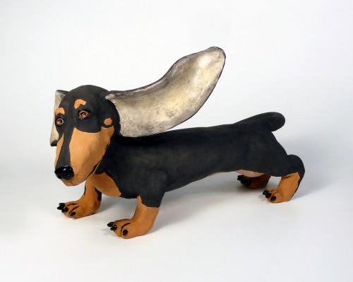 "Paula Bellacera: Black and Tan, 9"" x 16"" x 9"", 2011, handbuilt, low-fire clay, glaze, underglaze"