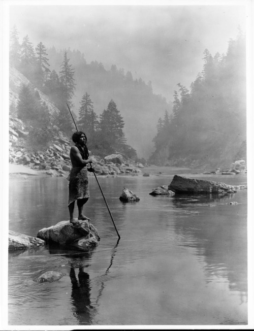 """A Smoky Day at the Sugar Bowl - Hupa,""  by Edward Curtis. c1923, June 30."