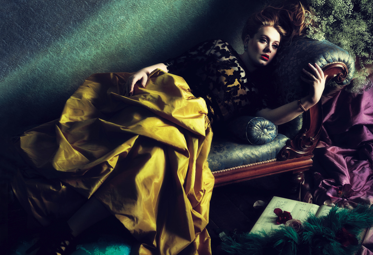 from March Vogue, Adele in Oscar de la Renta.