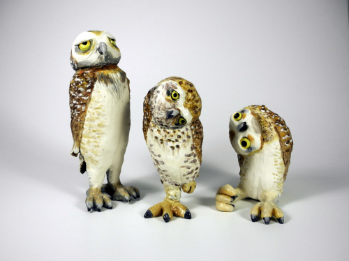 ceramicsnow:  Paula Bellacera: Owls, 2012, handbuilt, low-fire clay, glaze, underglaze  My life is the one on the right