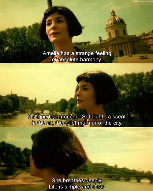 Amelie has a strange feeling of absolute harmony. It's a perfect moment. Soft light, a scent in the air, the quiet murmur of the city. She breathes deeply. Life is simple and clear.
