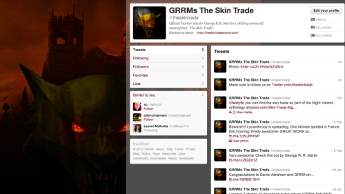 Follow MTP's 'George R.R. Martin's The Skin Trade' on Twitter!  www.Twitter.com/theskintrade