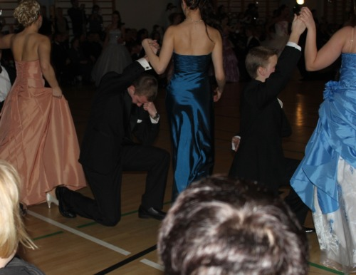 Tebowing at the senior prom.