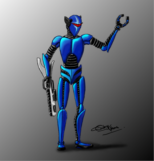 A concept robot character. Made in Gimp. No references used.