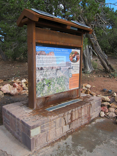 ericiam:  Grand Canyon National Park: Water Bottle Filling Station 0140 by Grand Canyon NPS on Flickr. Grand Canyon National Park: Water Bottle Filling Station Designated water bottle filling stations have been installed in high traffic areas on both rims of the park, making it easier than ever before to refill your water bottle. Like the existing water fountains and sinks in buildings and facilities throughout the park, the new filling stations provide free, Grand Canyon spring water from the park's approved water supply, located at Roaring Springs. The bottle filling station shown in this photo is at the South Kaibab Trailhead.