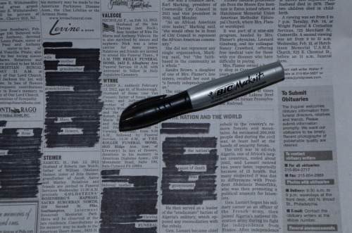 Some newspaper blackout poetry in action by The Choke Bucket