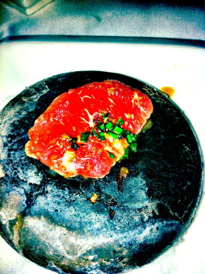 Kobe beef on a hot rock. At Japonais in Chicago.