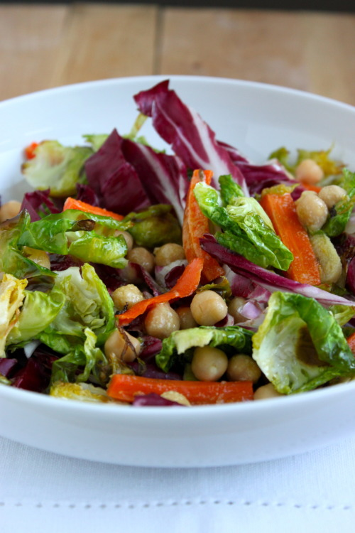 radicchio with brussels sprouts, carrots, and chickpeas
