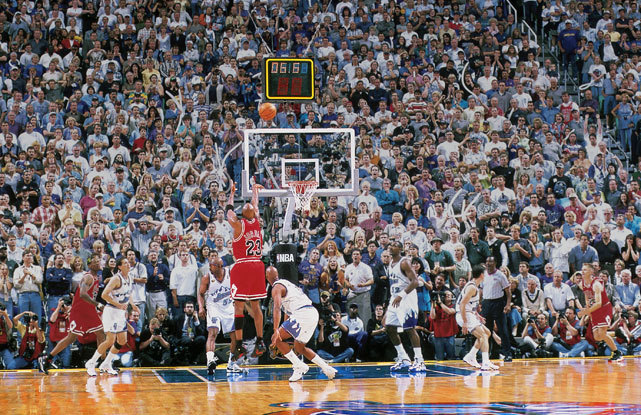 Michael Jordan makes the game-winning shot during Game 6 of the 1998 NBA Finals. This would be Jordan's final play in a Chicago uniform. (Fernando Medina/NBAE/Getty Images) SI VAULT: Jordan breaks Utah's heart with last-second jumper (6.22.98)