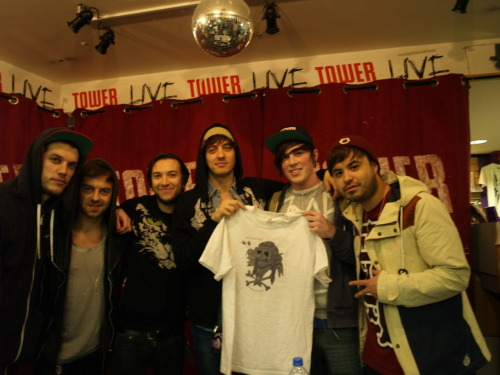 Myself with the new Meter&Verse T-shirt with the boys from Young Guns in Dublin at their signing today! top lads! dont mind me, im just fangirling all over the place.