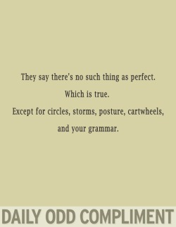 "dailyoddcompliment:  ""Perfect Grammar""  i love this. and grammar."