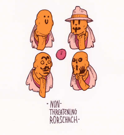 "austineustice:  Non-Threatening Rorshach The character Rorschach from Watchmen is a pretty scary guy; but that is only because his ever-changing mask cooperates and swirls into menacing ""what does it mean?"" formations. I prefer a mask that does not share this glum attitude towards symmetrical mood projection."